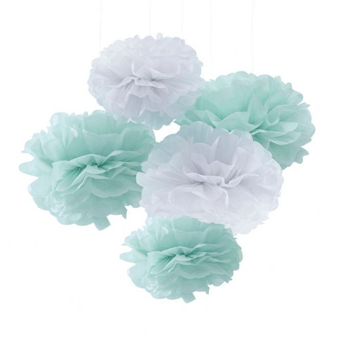 Mint Green & White Pom Poms - pack of 5
